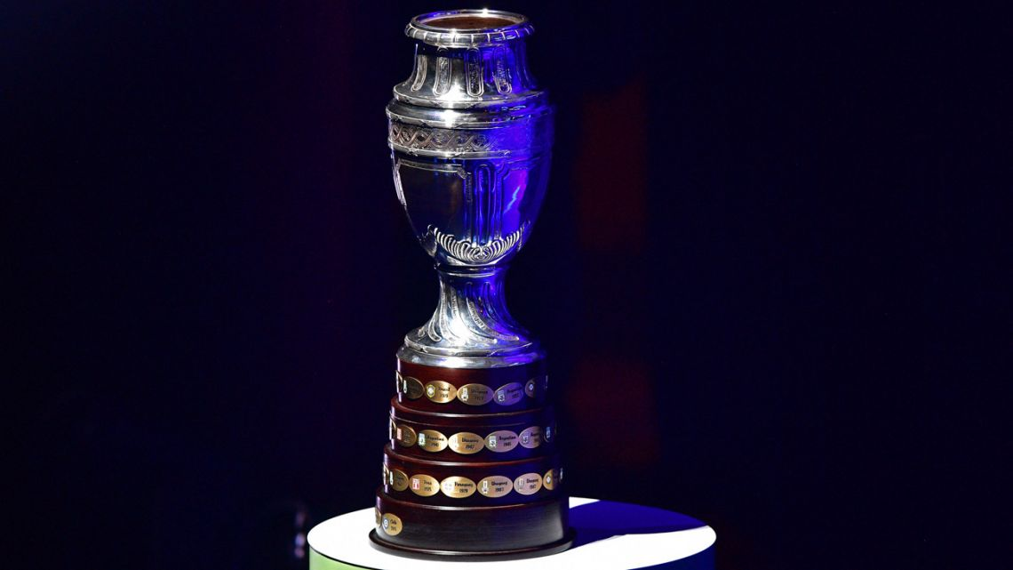 In this file photo taken on January 24, 2019, the Copa América trophy is pictured during the 2019 Copa América draw in Rio de Janeiro, Brazil.