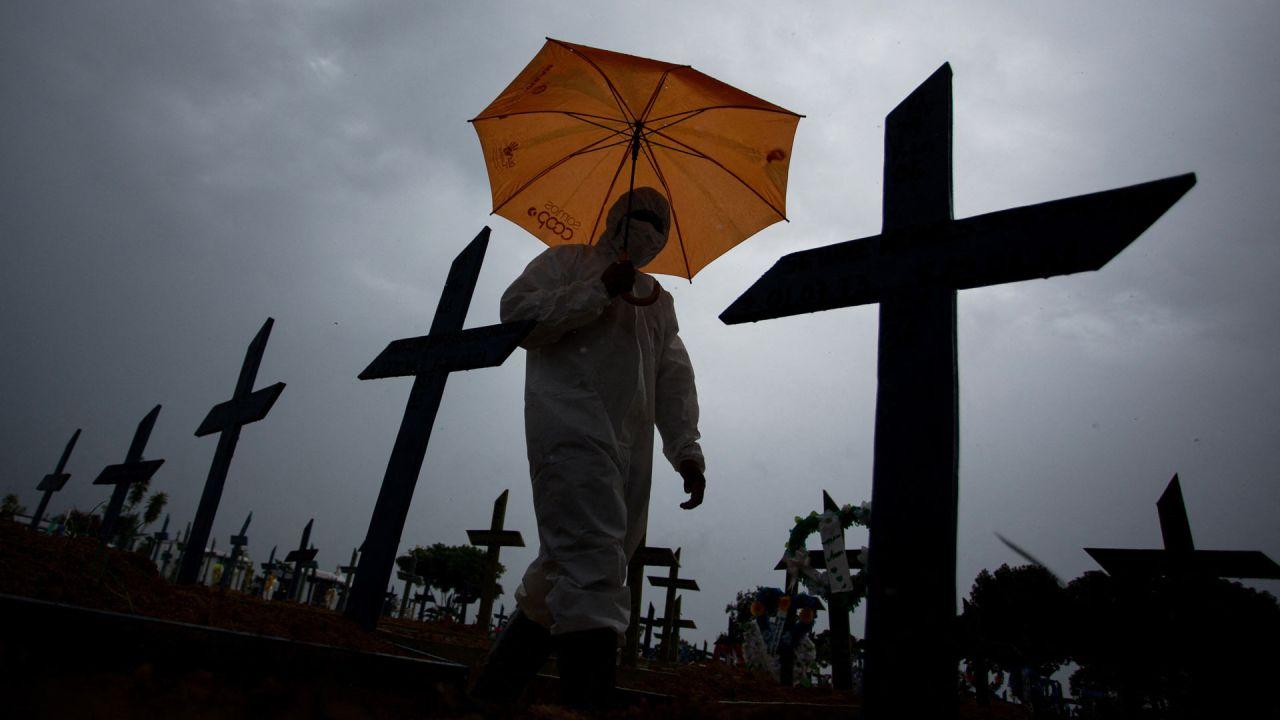 Un trabajador vestido con un traje protector y con un paraguas camina frente a las tumbas de las víctimas del COVID-19 en el cementerio de Nossa Senhora Aparecida, en Manaos, Brasil.   Foto:Michael Dantas / AFP