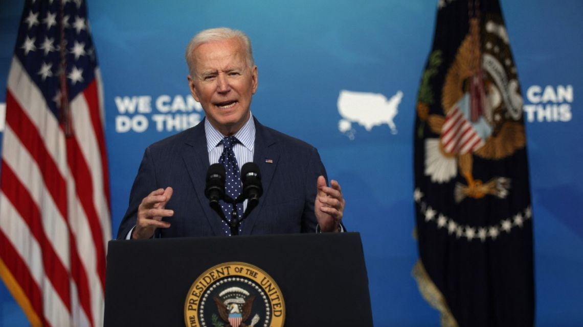US President Joe Biden speaks during an event in the South Court Auditorium of the White House June 2, 2021 in Washington, DC.