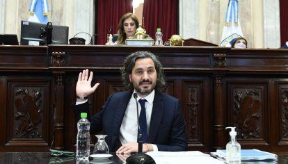 El Jeje de ministros Santiago Cafiero brinda un informe en el recinto de la Cámara de Senadores