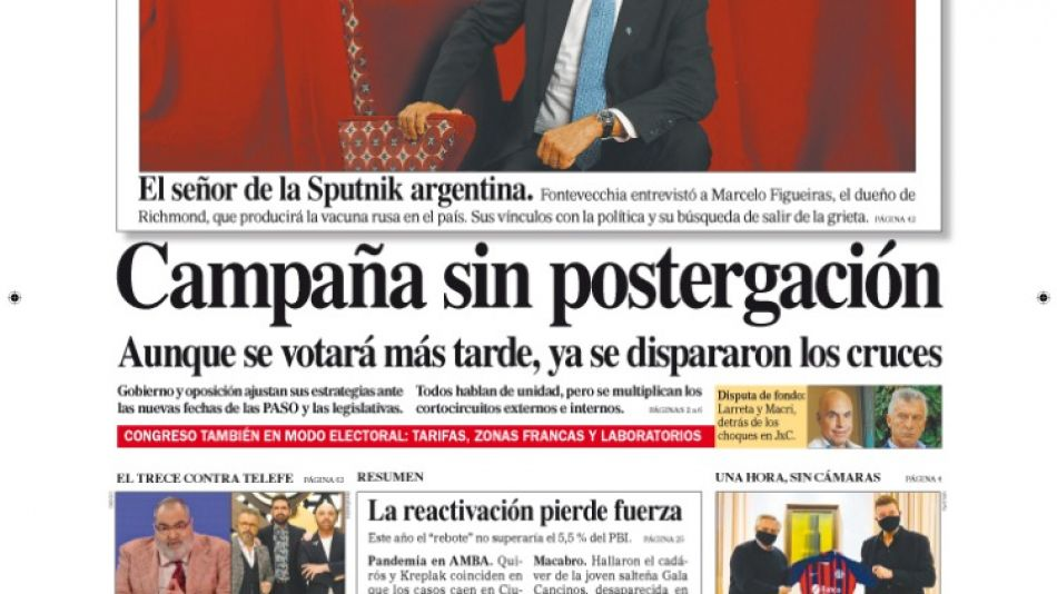 Diario Perfil Tapa Domingo 6 de junio 2021