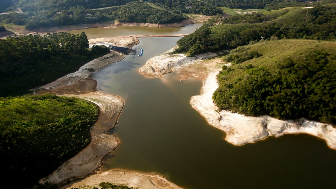 This file photo shows an aerial view of the Atibainha river dam, in Nazare Paulista, during a drought affecting São Paulo state, Brazil.