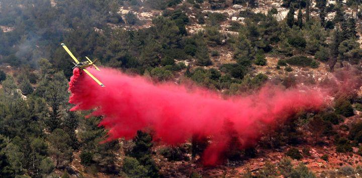 Un avión de extinción de incendios trabaja en la extinción de un incendio forestal en el área de la aldea árabe-israelí de Abu Ghosh, cerca de Jerusalén.