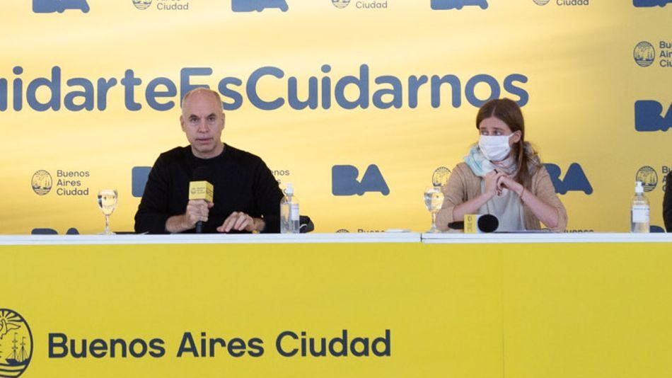 Horacio Rodríguez Larreta y la ministra de Desarrollo Humano y Hábitat, María Migliore.