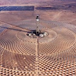 Aerial handout picture released by the Cerro Dominador, the first thermosolar power plant in Latin America, in Antofagasta, Chile, on May 3, 2020.
