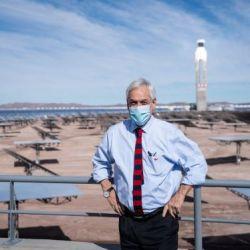Chile's President Sebastian Pinera posing during the inauguration of the Cerro Dominador thermal solar power plant, in Antofagasta, June 08, 2021.