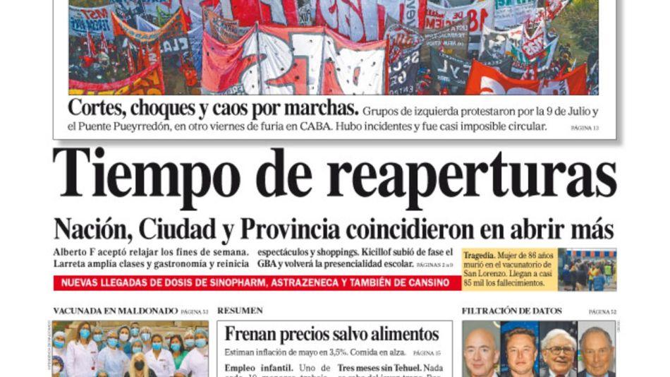 La tapa del Diario PERFIL del sábado 12 de junio de 2021.