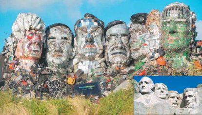 Recyclemore. Entre las cabezas representadas se ven las de Angela Merkel, Boris Johnson y Joe Biden.