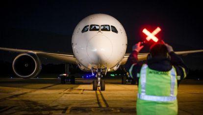 Avión aterrizado en Aeropuerto Internacional de Ezeiza.
