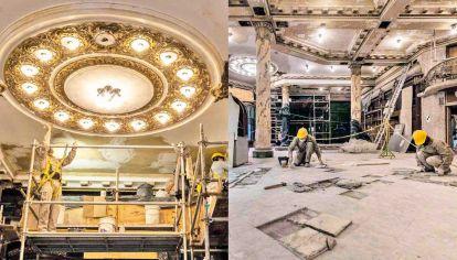 Puesta a punto. Los trabajos de restauración se concentraron en los cielorrasos, vigas y pisos de la Confitería, que es de mármol. Se hicieron escaneos en 3D y mapeos para recuperar las piezas originales de esos sectores.