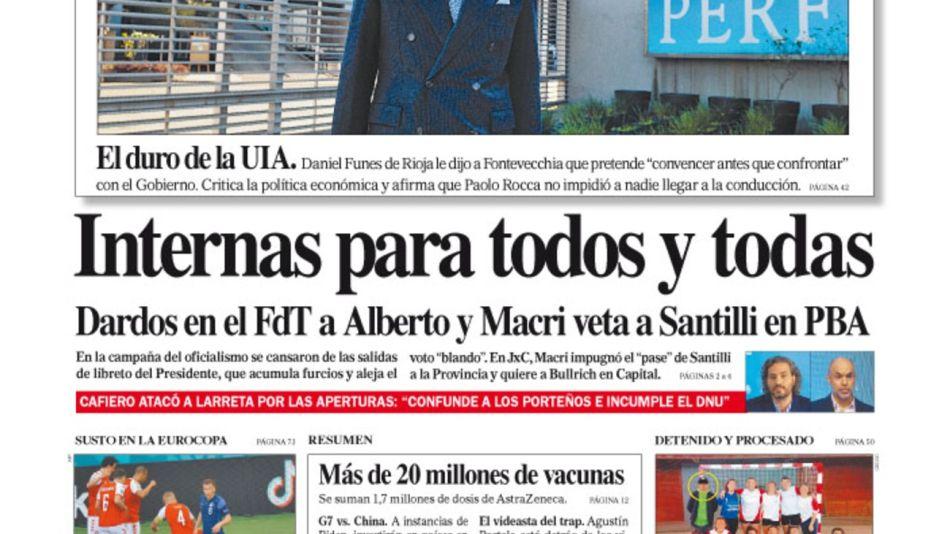 La tapa del Diario PERFIL del domingo 13 de junio de 2021.