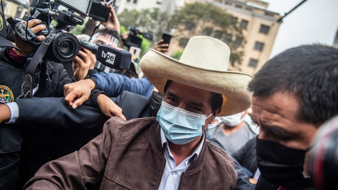 Presidential candidate Pedro Castillo, of the Peru Libre party, arrives at his party's headquarters in Lima for a press conference with the foreign press association, on June 15, 2021.
