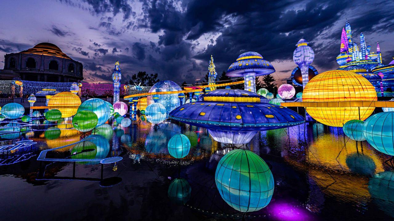 Instalaciones iluminadas en el quinto Festival de Linternas de Verano de Changying. | Foto:Chi Xiaowei / SIPA Asia vía ZUMA Wire / DPA