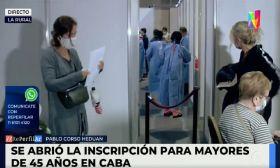 La Ciudad abrió la vacunación a los mayores de 45 años