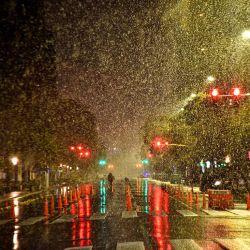 La capital cordobesa amaneció cubierta de nieve.