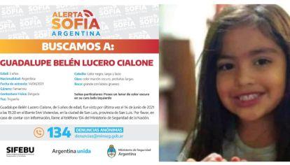 """Se activó el sistema de """"Alerta Sofía"""" para dar con el paradero de Guadalupe Lucero."""
