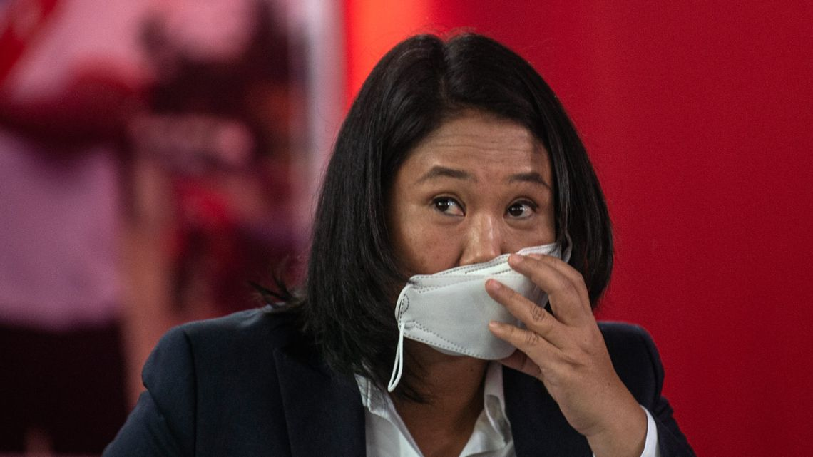 Peruvian right-wing presidential candidate for Fuerza Popular, Keiko Fujimori, arrives for a press conference at her party headquarters in Lima on June 17, 2021.