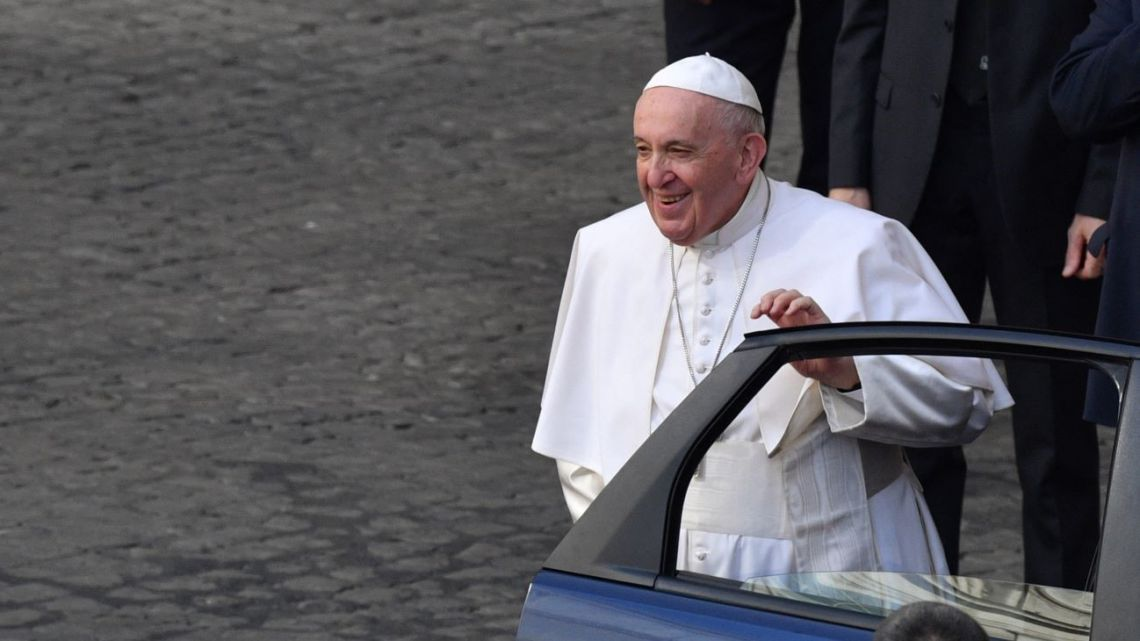 Pope Francis arrives to hold his weekly general audience at San Damaso courtyard on June 16, 2021 in The Vatican.
