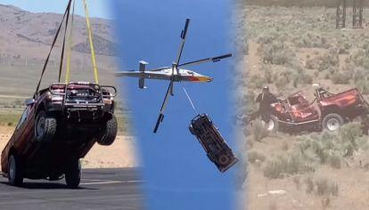 Una Toyota Hilux fue lanzada desde 3 km de altura: mirá como terminó