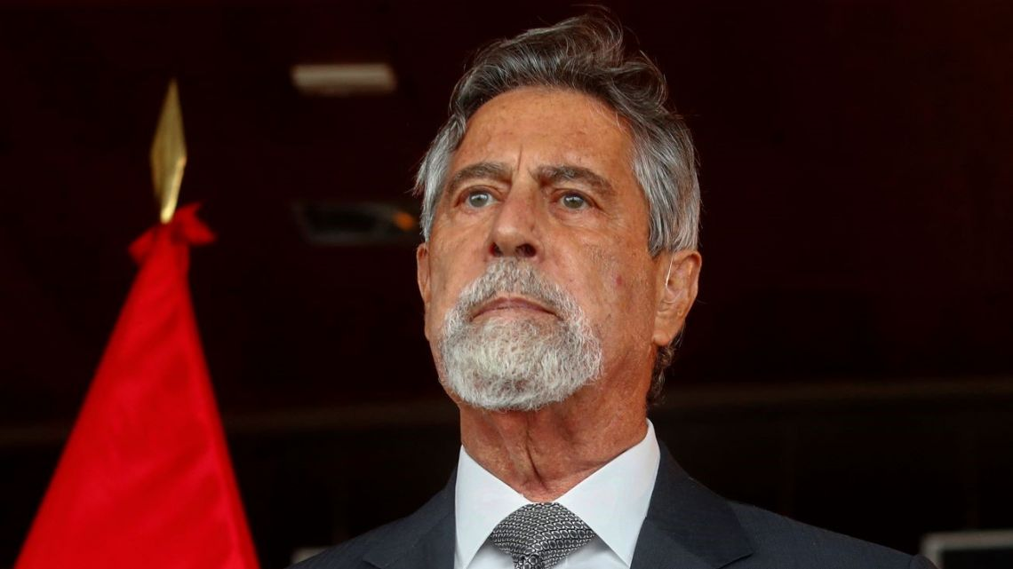 Photo released by the Peruvian presidency press office of Peruvian interim president Francisco Sagasti speaking in Lima on June 18, 2021.
