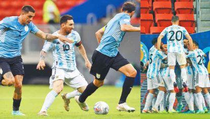 Arriba de todos. Lo Celso, que salió en el entretiempo, se suma al festejo por el gol de Guido Rodríguez. La Selección ganó bien el clásico rioplatense y no sufrió en el arco de Dibu Martínez.