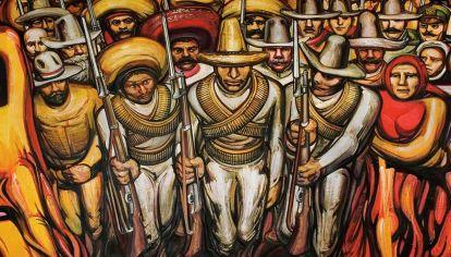 Mural de David Alfaro Siqueiros 'Castillo de Chapultepec' (detalle).