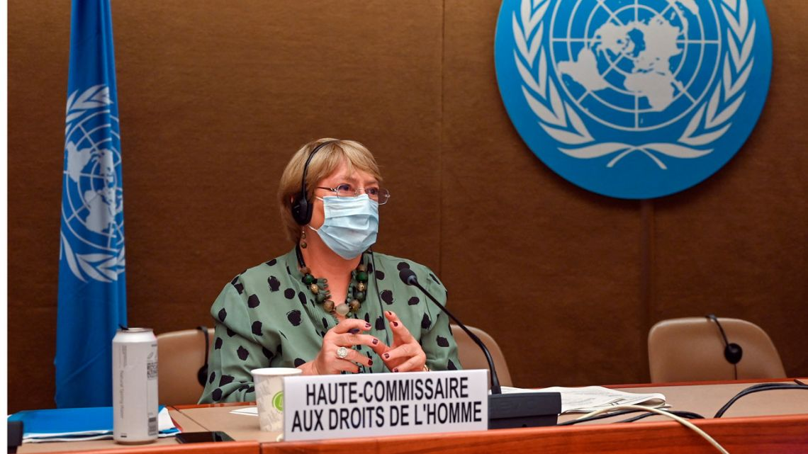 United Nations High Commissioner for Human Rights Michelle Bachelet looks on after delivering a speech on global human rights developments during a session of the Human Rights Council on June 21, 2021 in Geneva.