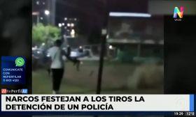 Narcos festejando a los tiros en el Fuerte Apache por la detención de un policía