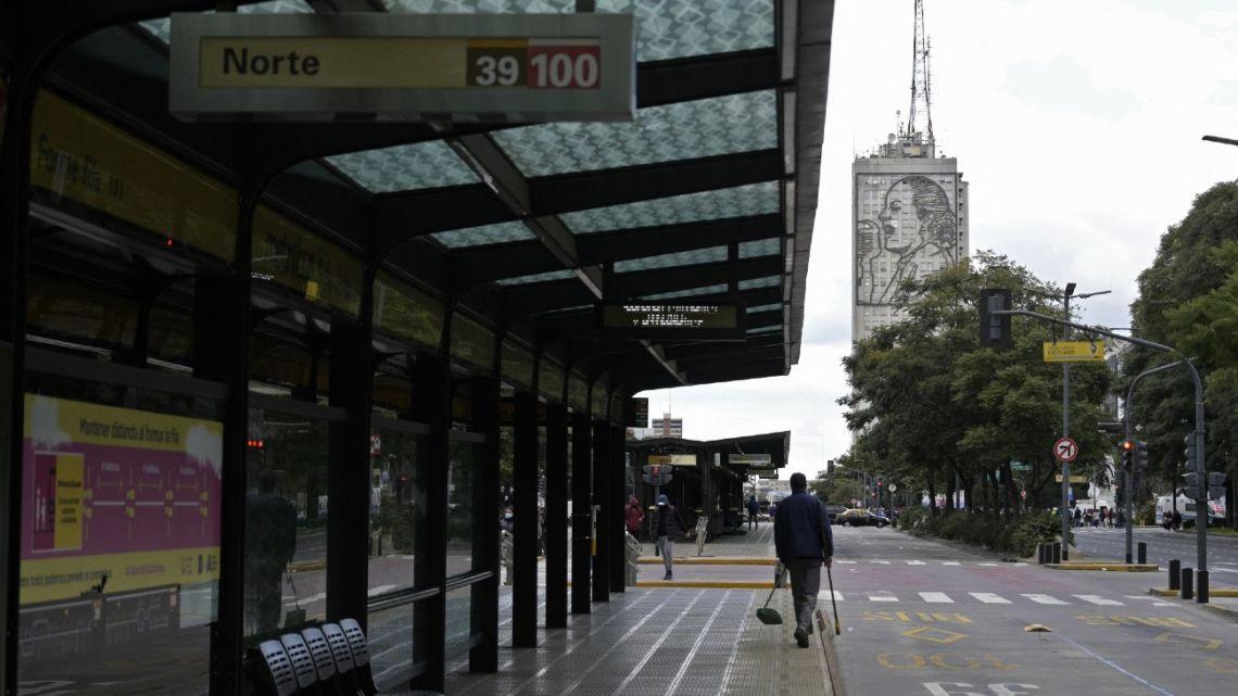 Empty bus stops are seen at Avenida 9 de Julio in Buenos Aires.
