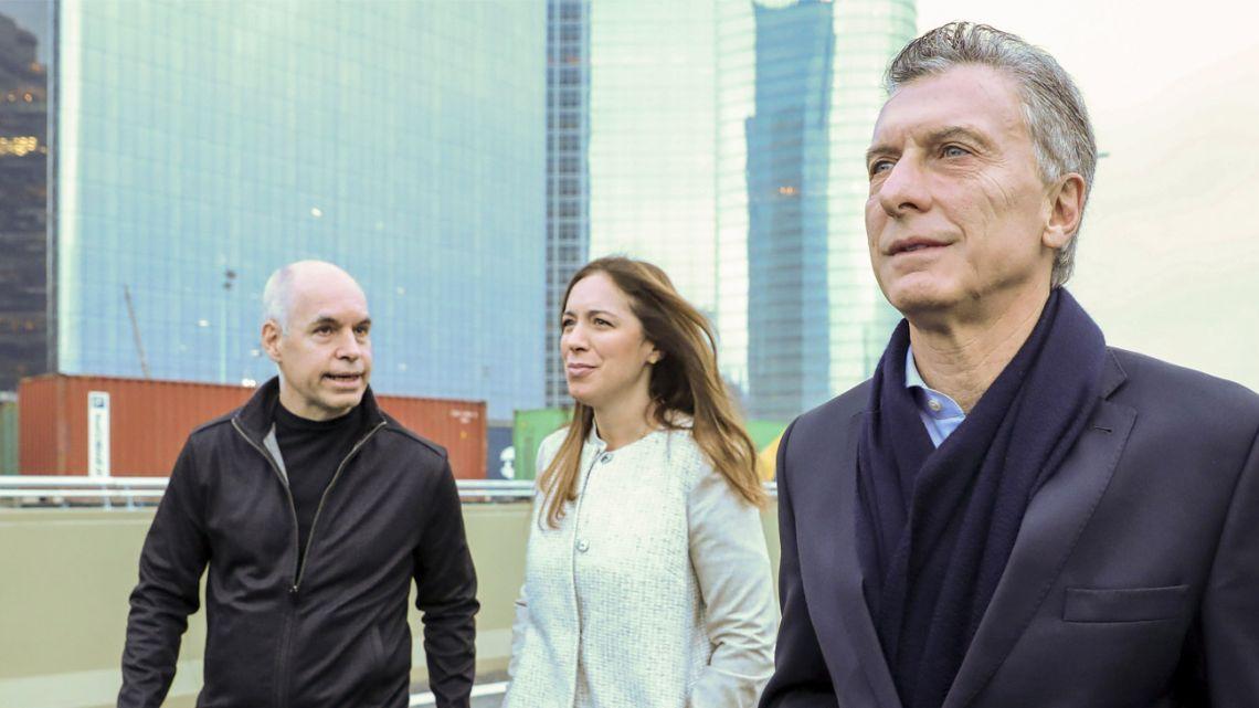 From right to left: Buenos Aires City Mayor Horacio Rodríguez Larreta, ex-Buenos Aires Province governor María Eugenia Vidal and former president Mauricio Macri.