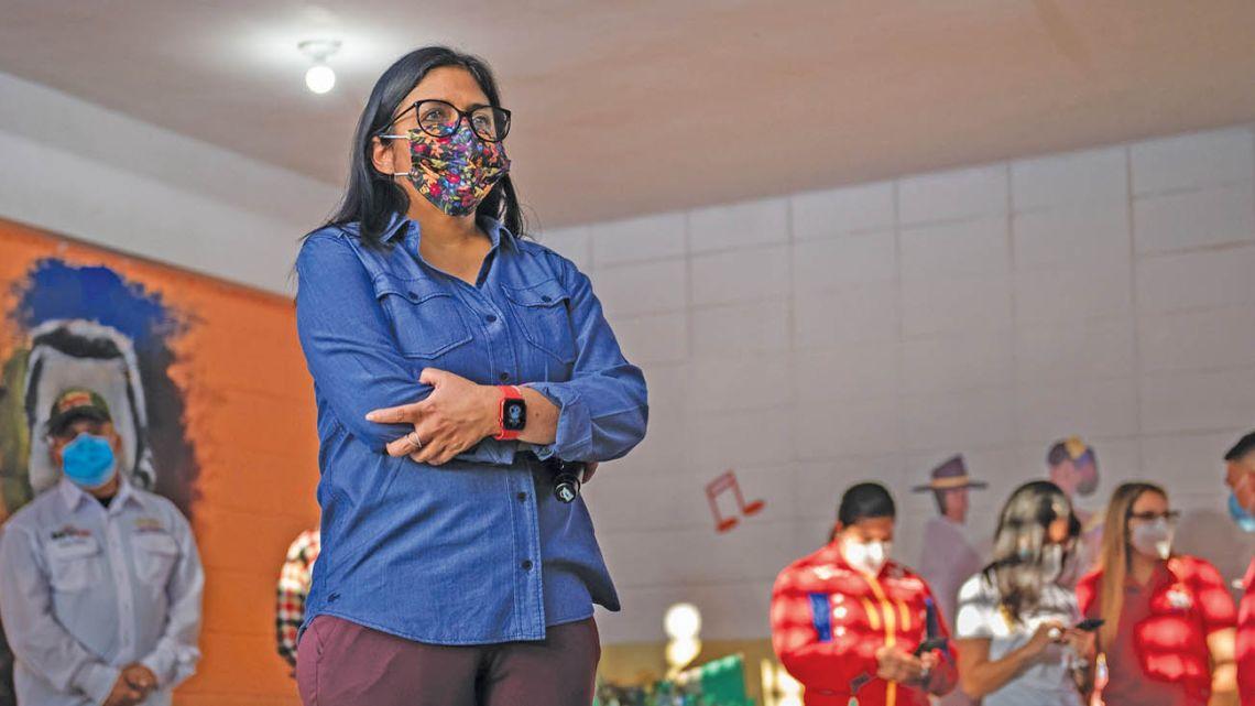 Delcy Rodríguez, Venezuela's vice-president, at a commune in the Los Sin Techos neighbourhood of Caracas, Venezuela, on Friday, June 11, 2021.