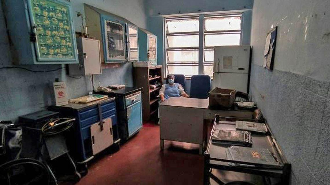 A nurse takes a break at the Clinical University Hospital in Caracas.