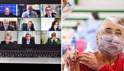 En acción. Los auditores generales de la Nación, en una de sus últimas reuniones virtuales. Las vacunas se volvieron motivo de debate.