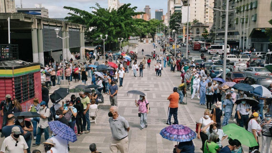 World's worst Covid line, Caracas, Venezuela.