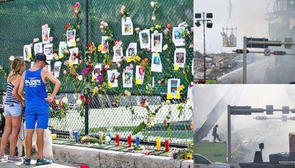 Esperanza de vida. Desde ayer allegados de las personas desaparecidas erigieron un altar en las inmediaciones del edificio derrumbado.