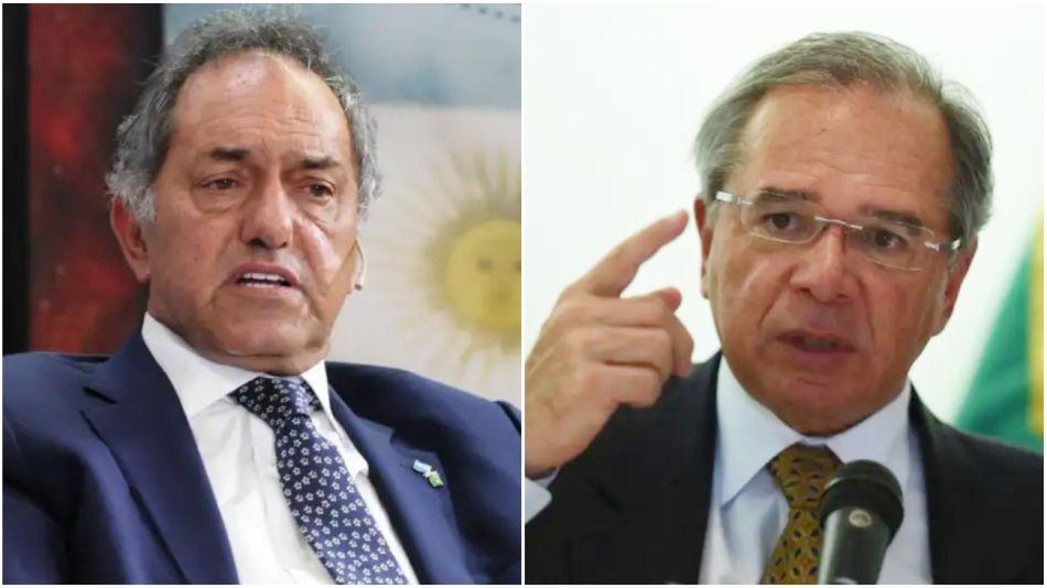 El embajador Daniel Scioli y el ministro Paulo Guedes.
