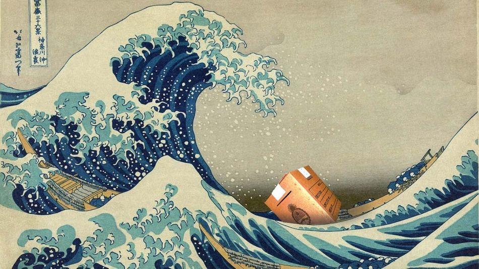La gran ola de Kanagawa, también conocida simplemente como La ola, famosa estampa japonesa del pintor especialista Katsushika Hokusai, publicada entre 1830 y 1833.
