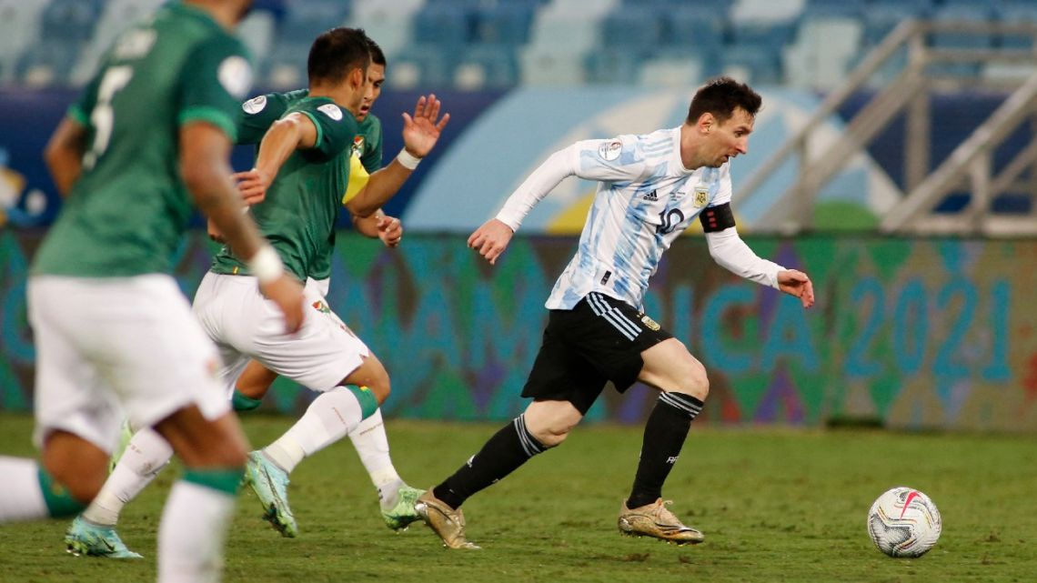 Argentina's Lionel Messi controls the ball during the CONMEBOL Copa América 2021 football tournament group phase match against Bolivia at the Arena Pantanal Stadium in Cuiaba, Brazil, on June 28, 2021.