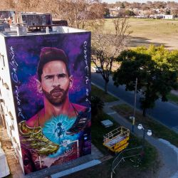 Images of a giant mural depicting Lionel Messi in Rosario, Santa Fe Province, Argentina. The mural, located in front of the school which Messi attended as a child, is the work of local artists Fer Lerena, Massi Ledesma, Lisandro Urteaga and Marlen Zuriaga.