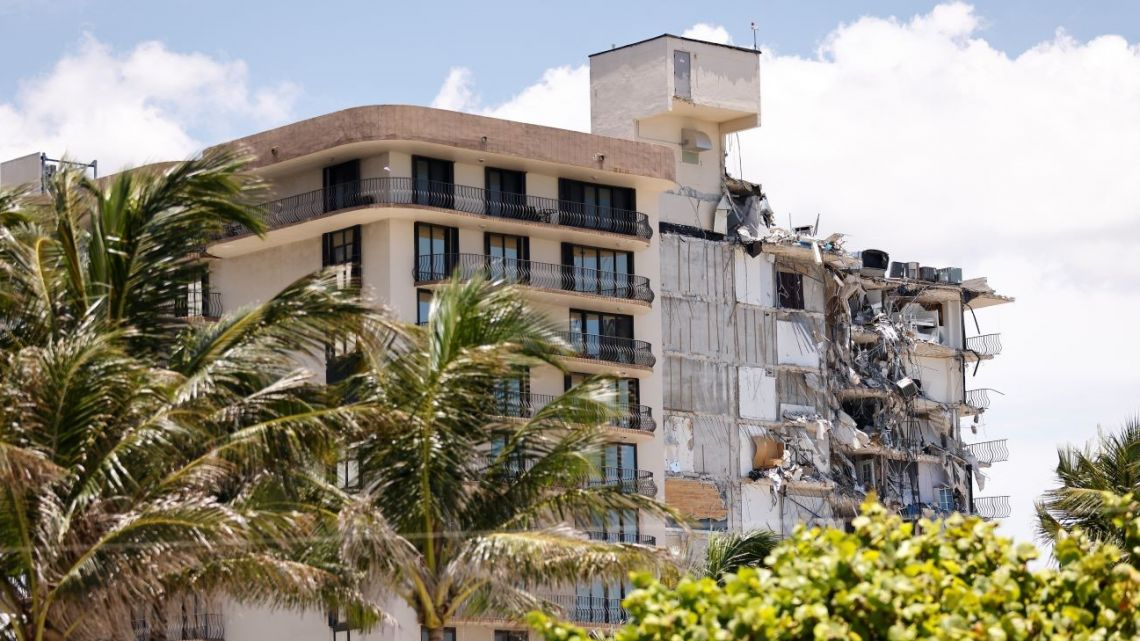 A general view of the partially collapsed 12-story Champlain Towers South condo building on July 03, 2021 in Surfside, Florida.
