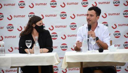 LANZAMIENTO. De Loredo y Verónica Gazzoni, el concejal se lanzó como candidato al Senado por Sumar.