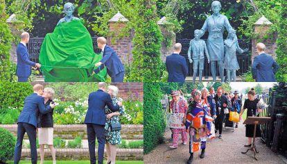 Juntos. Harry y William se encontraron con sus tías maternas, Sarah y Jane, en la inauguración de la estatua. Ayer hubo fans.