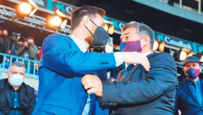 Buenos tiempos. Messi y Laporta. El presidente confía en que Leo seguirá en el Barça.