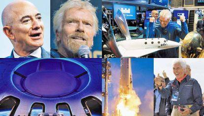 Competencia. Jeff Bezos y Richard Branson irán al espacio pero el británico anunció que viajará nueve días antes con su nave. Una de las pasajeras será Wally Funk, de 82 años.