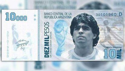 La idea de lanzar un billete conmemorativo con la figura de Diego Armando Maradona.