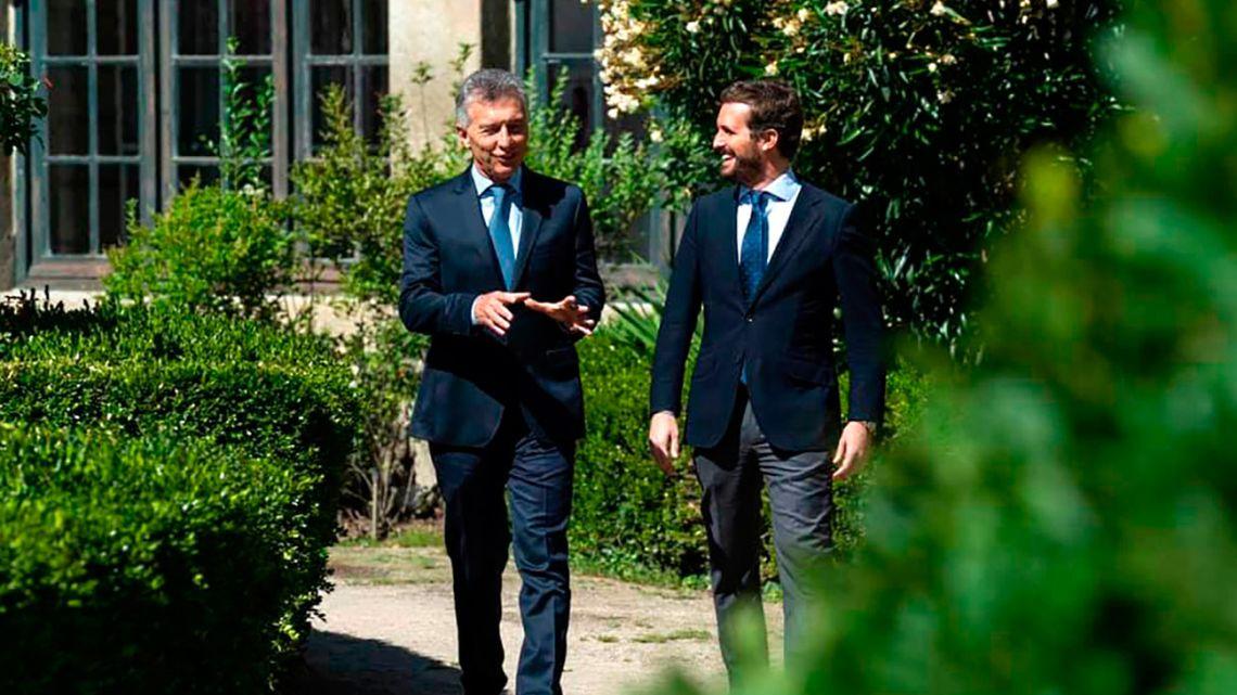 Mauricio Macri and Pablo Casado, the leader of Spain's conservative PP party.
