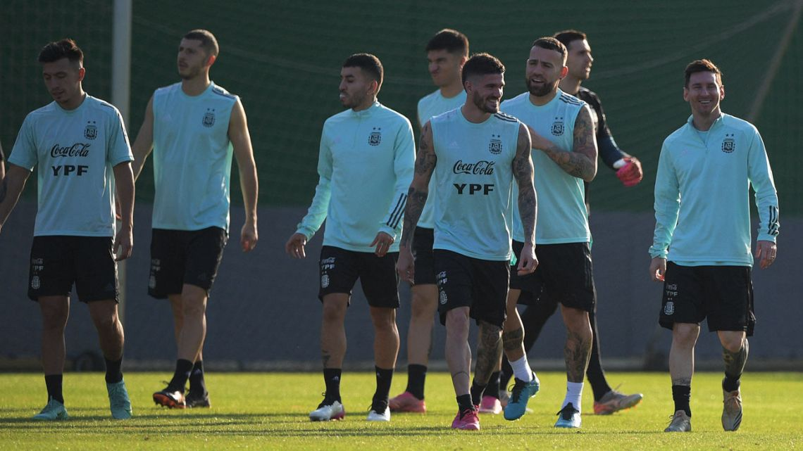 Argentina's players are seen during a training session in Rio de Janeiro, Brazil, on July 9, 2021.