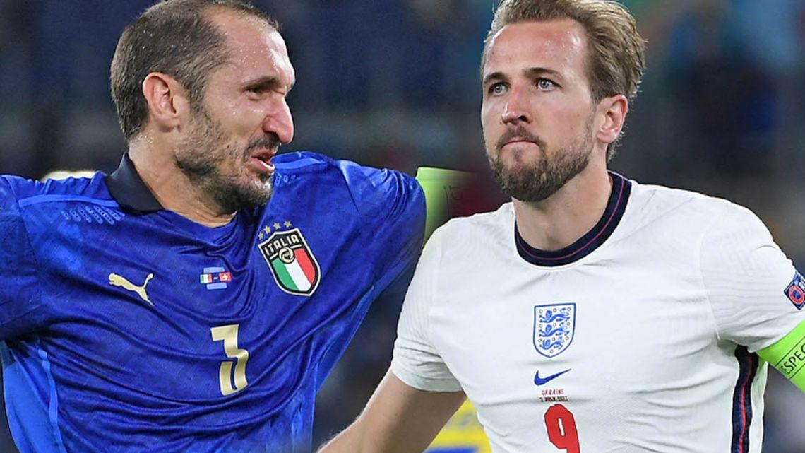 Italy captain Giorgio Chiellini and England captain Harry Kane.