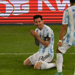 Argentina's Lionel Messi celebrates with Marcos Acuña after winning the Conmebol 2021 Copa América final against Brazil at Maracanã Stadium in Rio de Janeiro, Brazil, on July 10, 2021.
