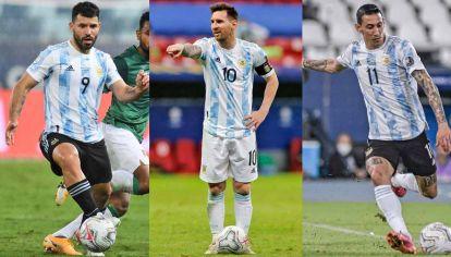 Últimos cartuchos. Agüero, Messi y Di María: están entre los jugadores con más presencias y con más goles marcados, pero no pudieron festejar ningún título.